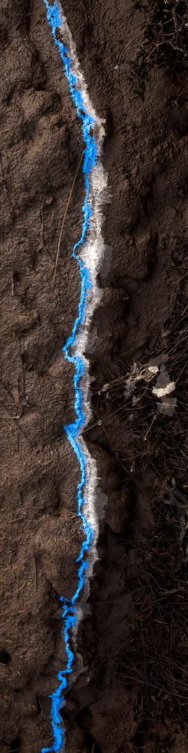 Mud, blue, ice, detritus.