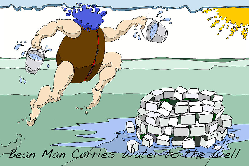 Bean Man Carries Water To The well
