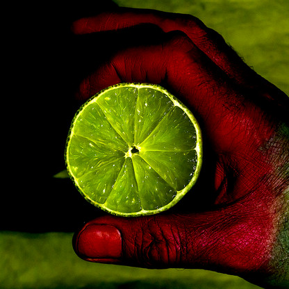 Lime Red Hand on Green