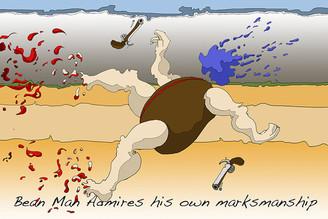 Bean Man Admires His Own Marksmanship