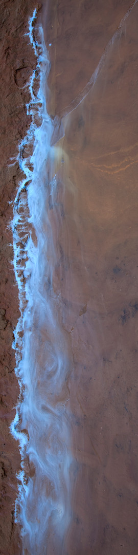 Mud, blue, water.