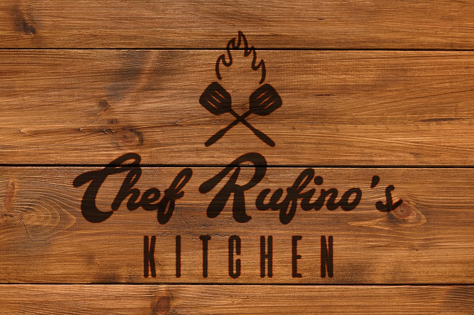 Chef Rufino's Kitchen logo wood brand