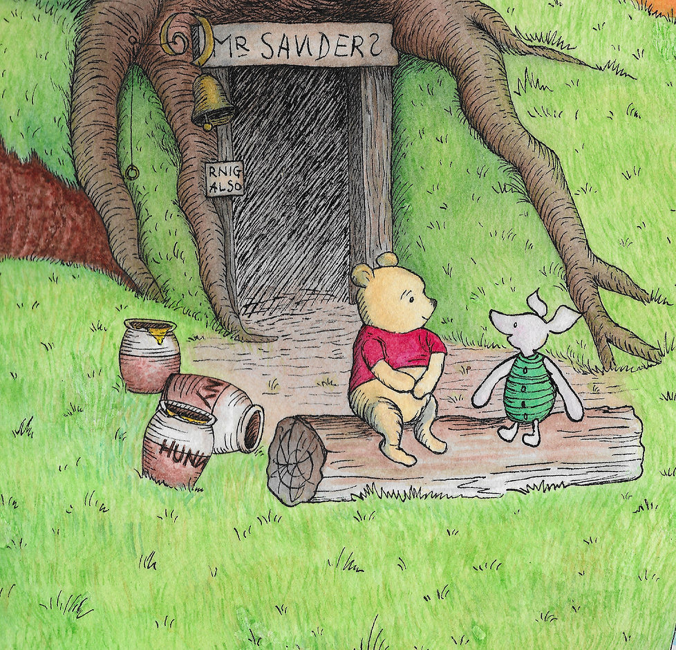 Pooh and Piglet sitting on a log in front of Pooh's house with jars of honey
