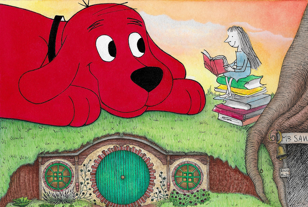 Clifford the Big Red Dog with Matilda, reading a book to him on the hillside above the hobbit hole