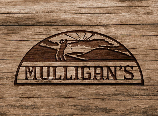 Mulligan's logo on wood background