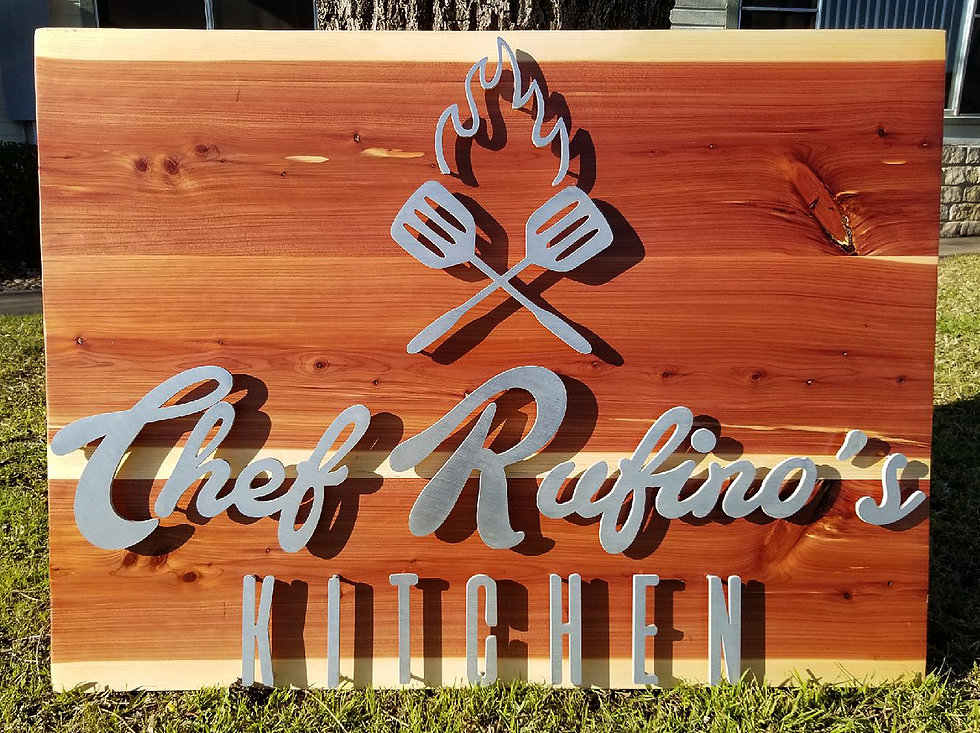 Chef Rufino's Kitchen sign, front view