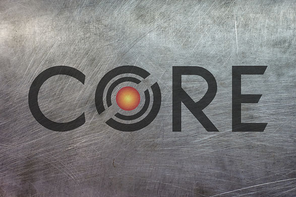 CORE Custom Metal Works logo on metal background