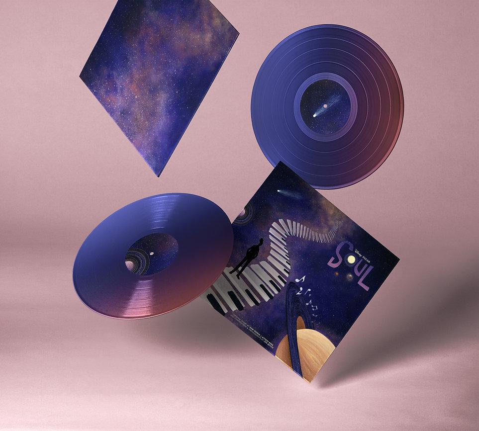 Falling Vinyl Records Mockup, Soul Album