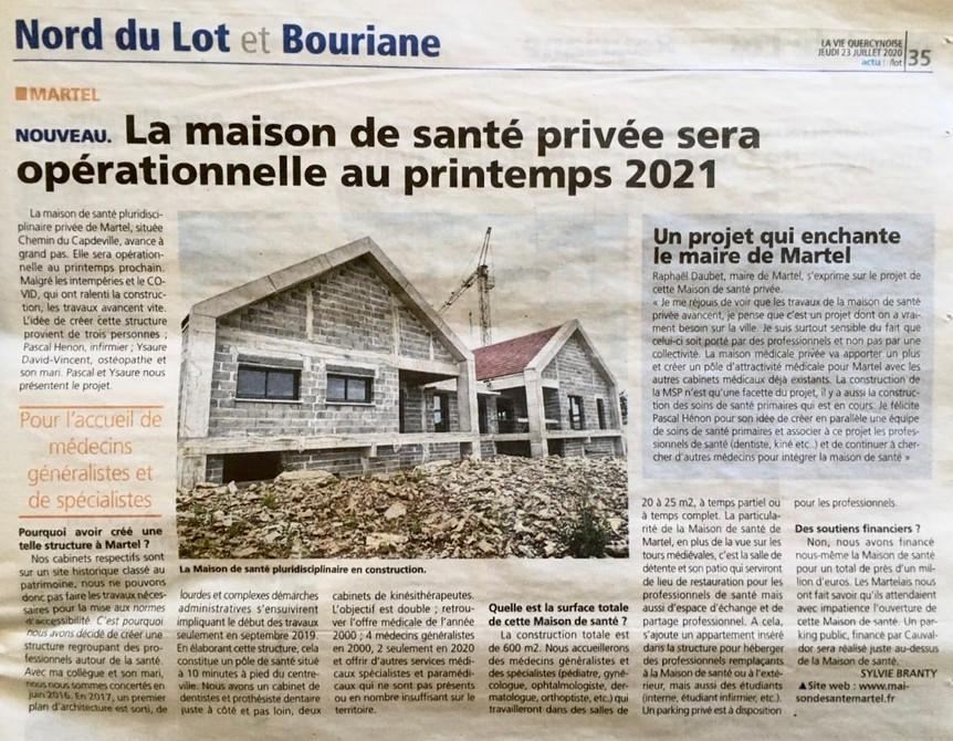 La Maison de Santé de Martel dans La Vie Quercynoise