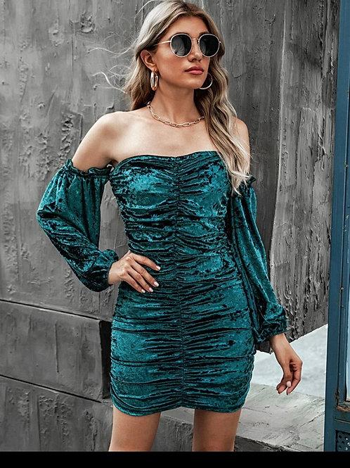 Off shoulder ruched velvet  dress
