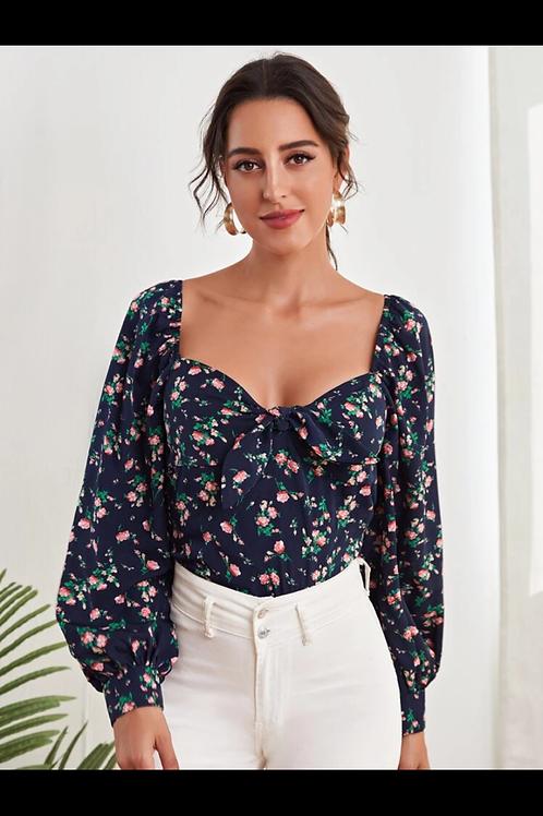 Lantern sleeve floral top