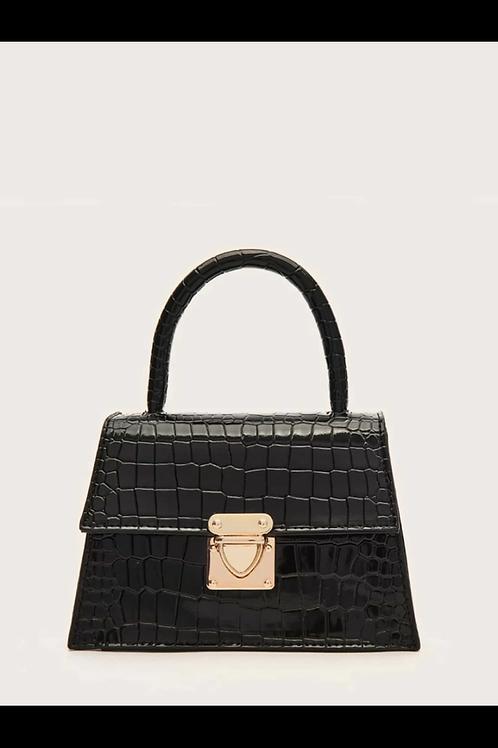 Push lock croc satchel bag