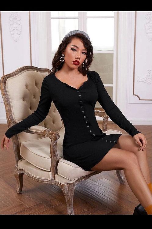 Press buttoned rib knit dress