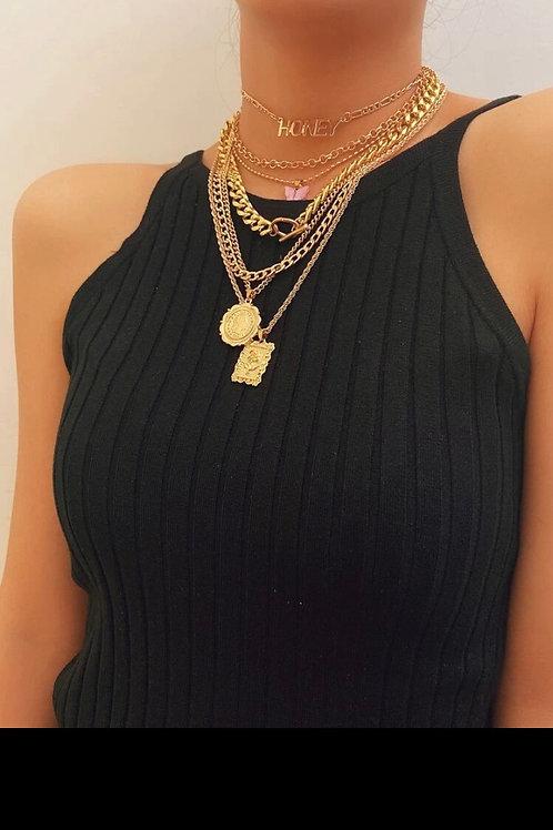 7pcs italian coin pendant necklace