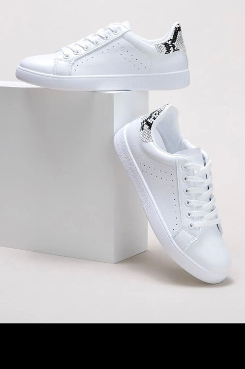 Lace up front snakeskin skate shoe