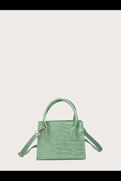 Croc embossed double handle satchel bag