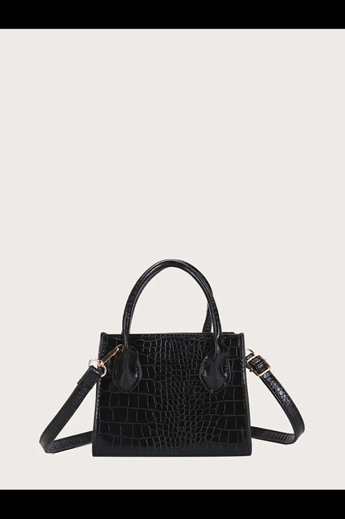 Croc embossed satchel bag