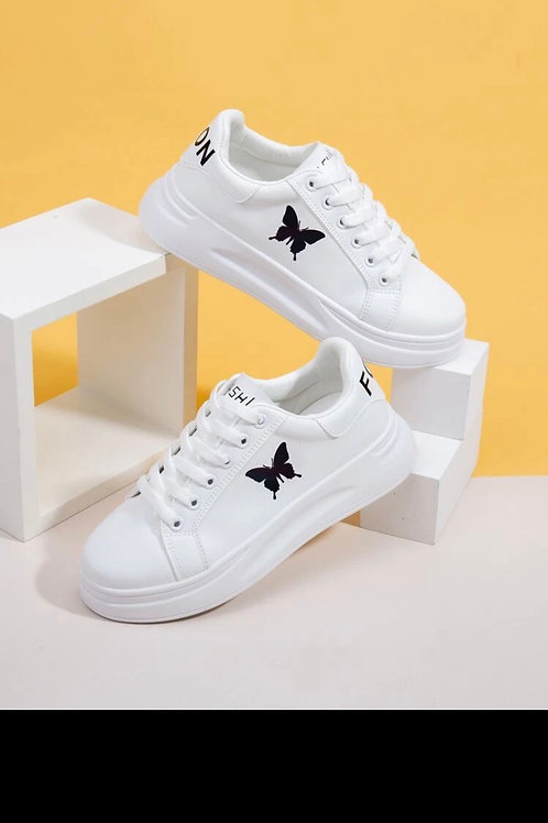Butterfly print lace up front skate shoes