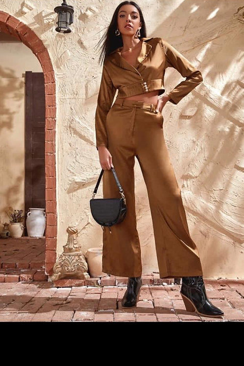 Lapel neck button blouse and wide leg pants