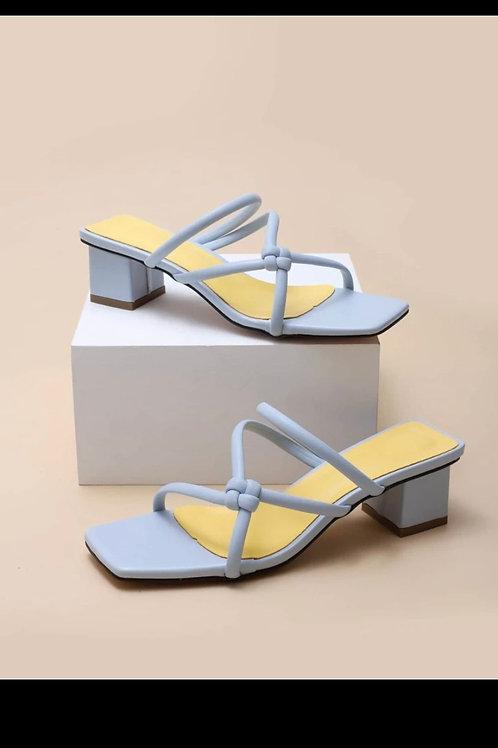 Open toe chunky heeled mules