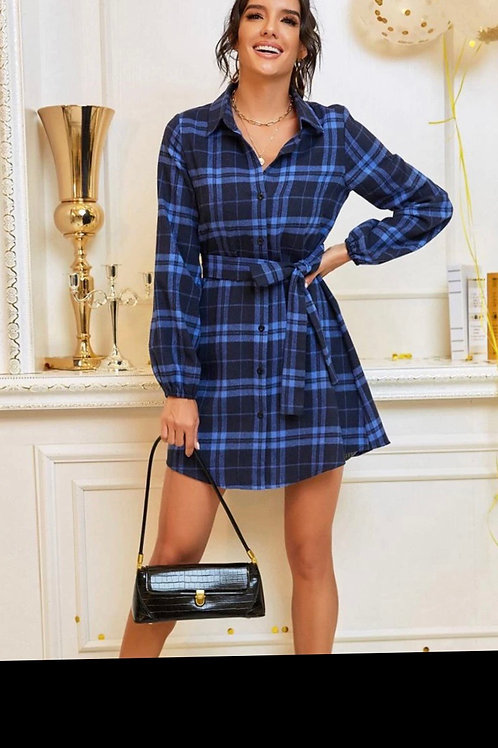 Tartan button up oversize dress