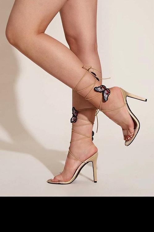 Bitterly decor transparent strap stiletto heels