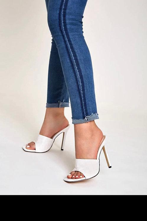 Detailed stiletto heeled mules