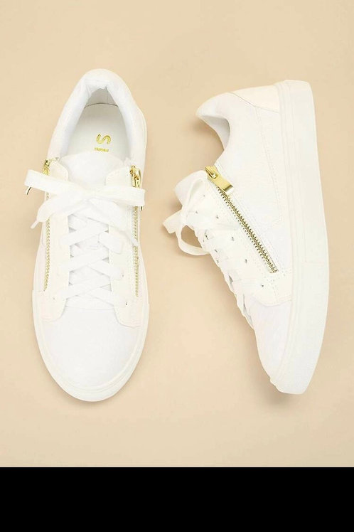 Crocodile pattern lace up sneakers