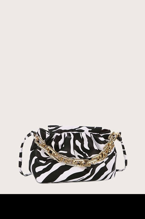 Zebra print chain satchel bag