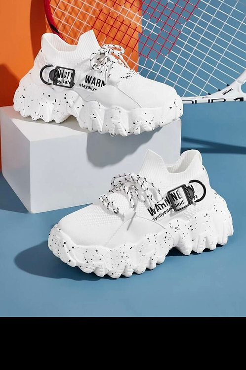 Lace up front letter graphic chunky sneakers