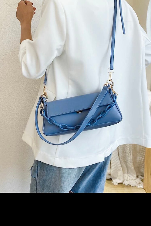 Flap baguette bag with chain handle