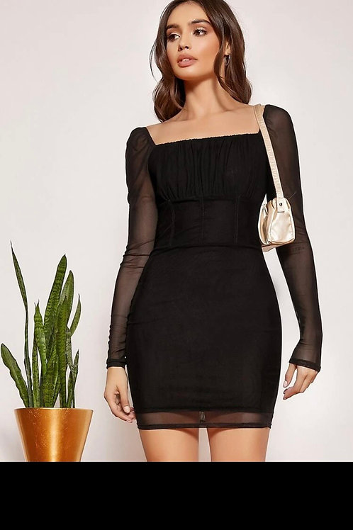 Square neck bust mesh dress