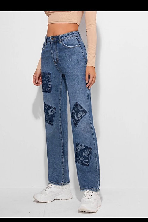 High waist floral patch straight jeans