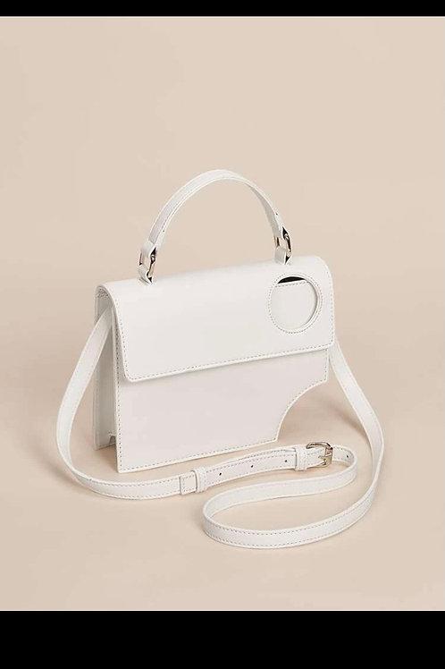 White cut out satchel bag