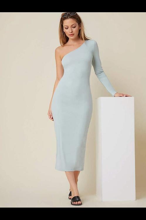 Basic one shoulder split dress