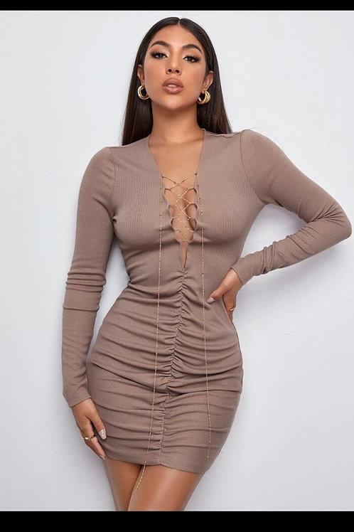 Ruched rib knit dress