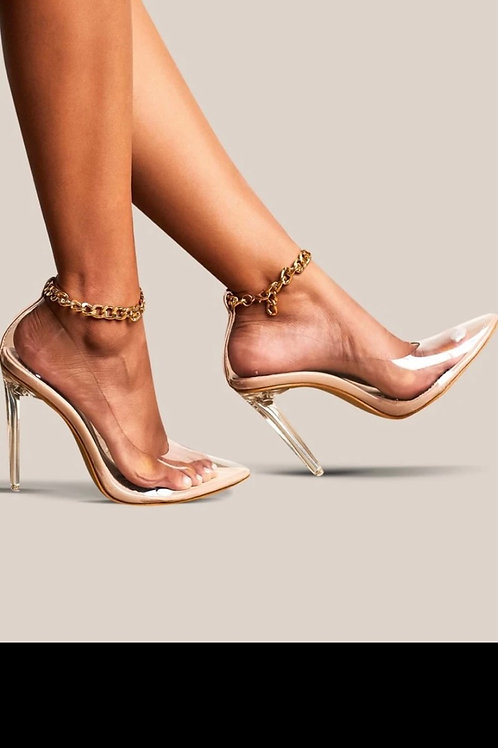 Point toe chain stiletto heels