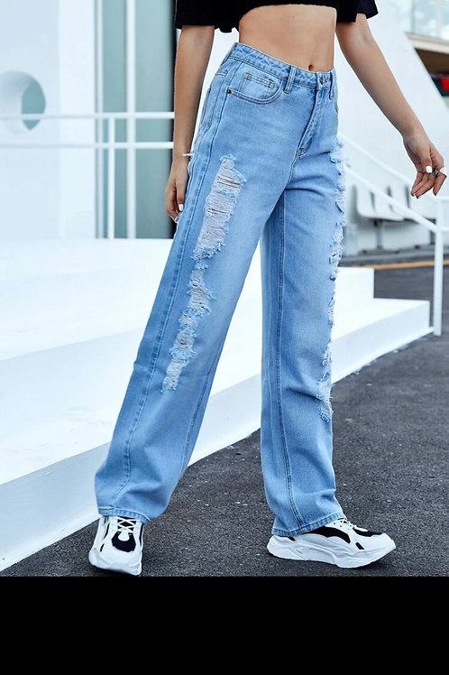 Stonewash distress jeans