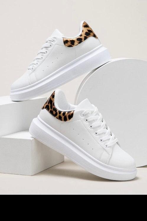 Leopard detail lace up front skate shoes