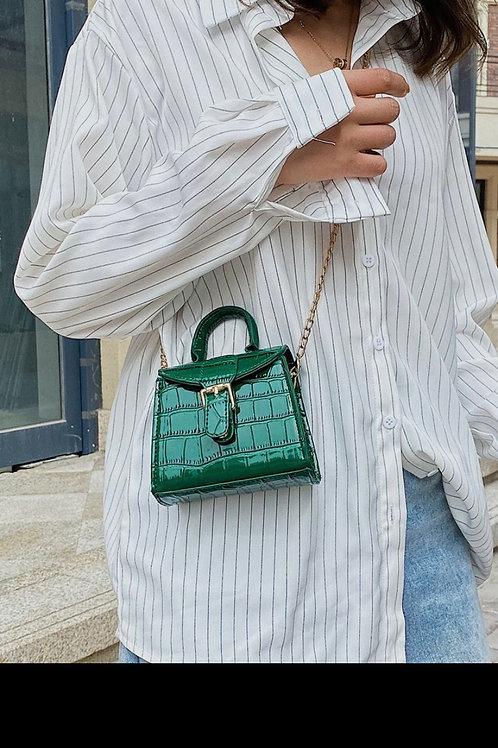 Mini croc embossed satchel bag