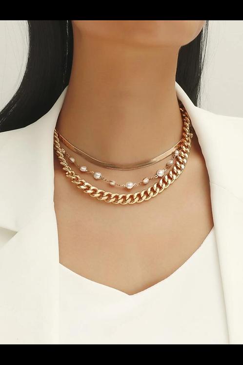 3pc faux pearl decor necklace