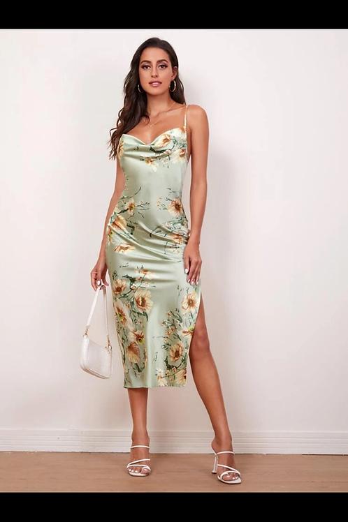 Lace up backless split dress