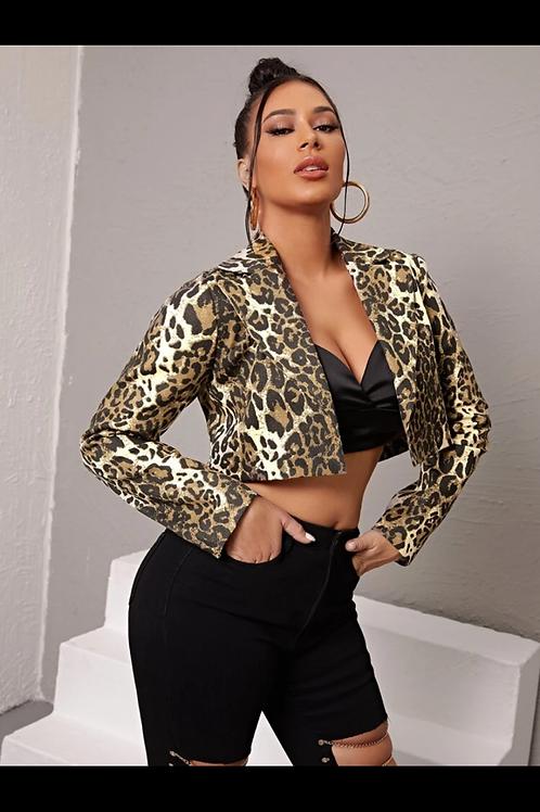 Leopard print crop blazer