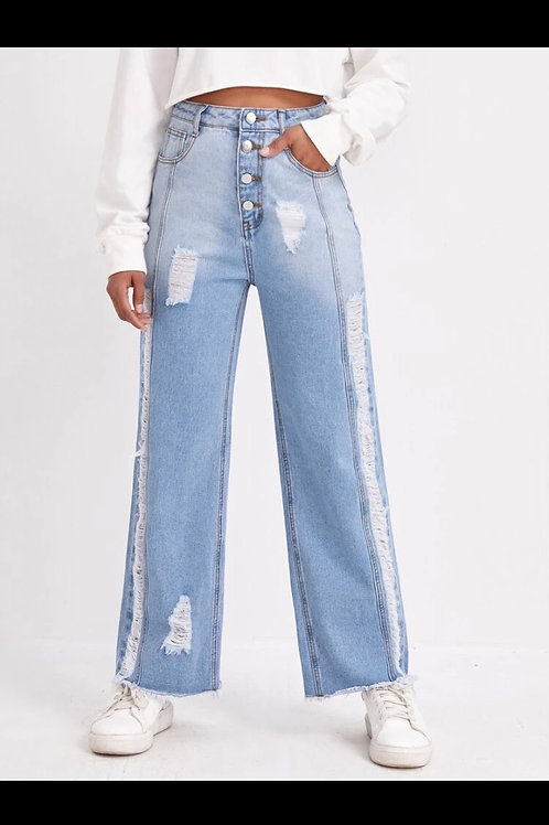 Button fly ripped jeans