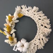 Couronne macramé et fleurs séchées - diam 22 cm