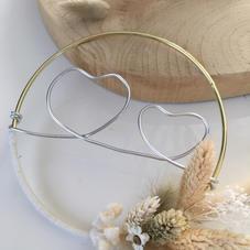 Cercle Coeurs doré (diam 13 cm)