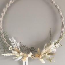 Couronne macramé et fleurs séchées - diam 30 cm