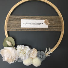 Couronne fleurie grise - diam 25 cm