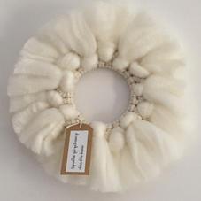 Couronne macramé et laine épaisse - diam 28 cm