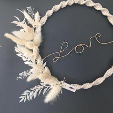 Cercle LOVE fleurs séchées (diam 20 cm)